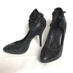 BCBG GENERATION Black Ruffle Heels